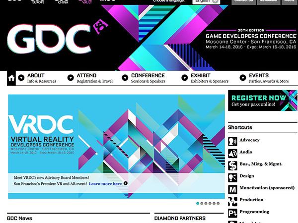 GDCの公式サイトでもバーチャルリアリティの紹介はトップにきている