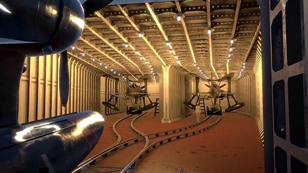 零式観測機が収められた航空機格納庫