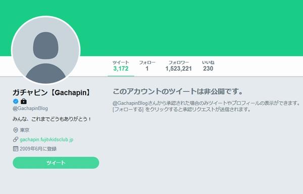Twitterのガチャピンのアカウント