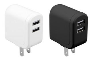 グリーンハウス、コンセントで同時に2台のスマホを充電できるアダプタを発売