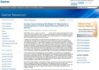 米Gartner、PC出荷台数が減りタブレットへシフトと発表