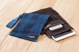 フリーコム、ヴィンテージのネルシャツを使ったポータブルHDD/iPad miniケース