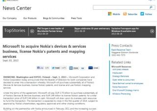 米Microsoft、Nokiaを54.4億€で買収--携帯電話事業と地図サービスを手中に
