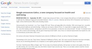 GoogleとAppleがタッグを組んでヘルスケア会社「Calico」(キャラコ)を設立