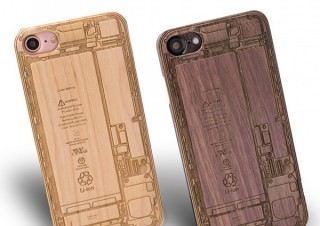ミッド・インターナショナル、iPhoneの本体内部を刻印で再現した木製ケース「MARUHADAKA」