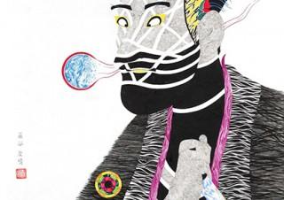 写楽の「大首絵」へのオマージュとして描いた新作を中心として展示する藤谷康晴氏の個展が開催
