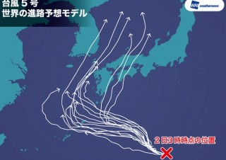 ウェザーニューズ、迷走台風5号の新たな進路予想モデル発表。沖縄か四国直撃か