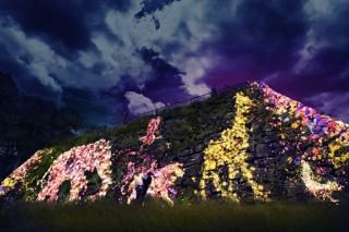 インタラクティブな光のデジタルアートが展開されている「福岡城 チームラボ 城跡の光の祭」