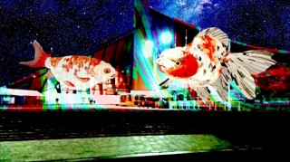 """プロジェクションマッピングでデジタルアートの""""金魚""""が泳ぐ「空飛ぶ金魚 at 代々木体育館」"""