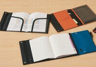 ノートカバーにペンケースなどを繋げてじゃばら状に収納する「つながるノートカバーシリーズ」