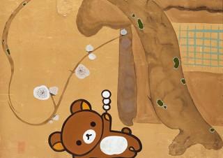 初音ミクやリラックマなどのキャラと日本画を融合させた作品を展示する「ぼくらが日本を継いでいく」