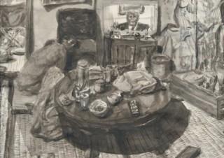 計60点ほどの墨絵と版画が紹介される「ザ・テレビジョン 重野克明展」