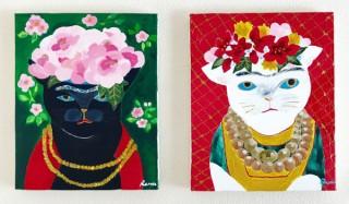 """人物を""""猫化""""した作品など約100点を展示販売するイラストレーター山中玲奈氏の初個展「猫色の人生」"""