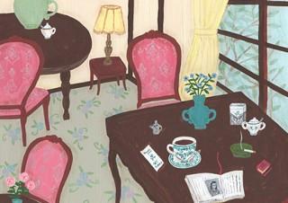 そで山かほ子氏の個展がスタート!居心地の良いカフェ空間を再現してカットアウト作品などを展示