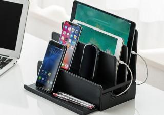 サンワサプライ、複数の配線をスッキリ収納できる!高級感あふれるレザー調の充電ステーションを発売