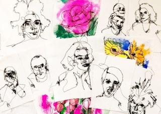 まるで鉛筆で描いたように刺繍で表現した作品を紹介するMU氏の個展「糸で描く」