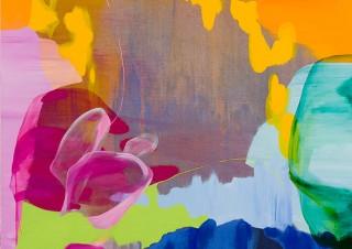 ルノワールやモネやゴッホなど印象派の色彩をモチーフにした作品を展示する流麻二果氏の個展「色を追う」