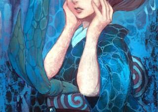 冬目景氏のイラスト原画や漫画原稿を展示している「冬・絵展 vol.9」