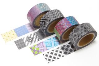 アビコムデザイン、奄美大島紬の伝統柄と和柄をミックスさせた4種の「紬POP マスキングテープ」を発売