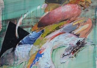 """抽象的な空間を描いた""""ぬりえ""""シリーズの最新作を発表している樽井英樹氏の個展「チャームポイント」"""