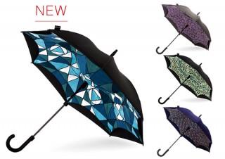 水滴が落ちない! 逆開き傘の「KAZBRELLA」が華やかなプリントパターン4種を発表