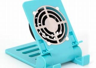 熱くなったスマホ・タブレットを放熱させる「冷却ファン付きスタンド」、上海問屋から