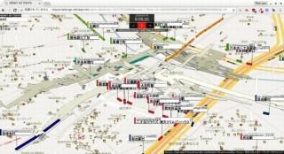 東京の鉄道・バスの動きと構内図を4次元地図で可視化した「HEAVY 4D TOKYO」が一般公開