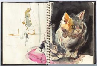 1冊に12点ずつを描いたスケッチブックの作品が並ぶ「広田稔展 50冊のスケッチブック」