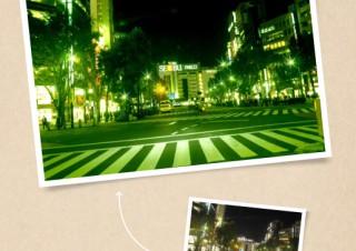 蛍光灯の緑を強調することで、神秘的な夜の街を表現する - ともかくカッコイイ写真に仕上げたい!