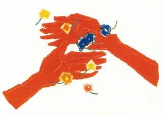"""""""手遊びから生まれるカタチ""""が絵として表現されている椎木彩子氏の個展「 と、花」"""
