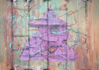 迷路やあみだくじなどをモチーフとした作品を展示する小林あずさ氏の個展「ダブルスライド」
