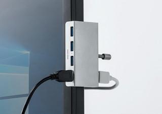 サンワダイレクト、液晶ディスプレイの縁にも固定できるクランプ式のUSBハブを発売