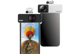 iPhoneの前+後カメラを使って360度映像を撮影する特殊レンズ「KRAVAS 360°VIEW」