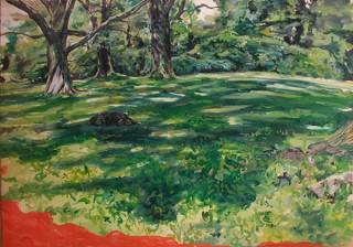ネイチャーモチーフの油彩画を展示するクローディア・アーラリング氏の個展「Parasite Nature」