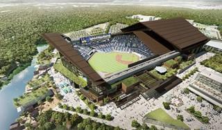 日ハム新球場、入浴しながら観戦できる温泉客席!建物は周囲に溶けこむ三角屋根のデザイン