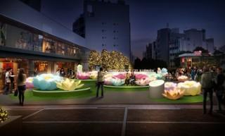 花の装飾やフォトスポットを楽しめる光のイベント「新宿テラスシティ イルミネーション'18-'19」