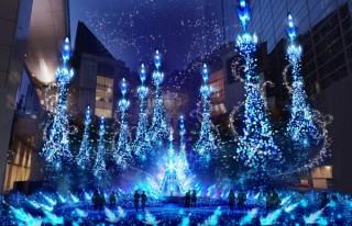 """""""アナ雪""""や""""塔の上のラプンツェル""""をイメージしたカレッタ汐留の「プリンセスイルミネーション」"""