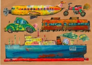 身近な世界をクラフトペーパーに表現した中村muchoよしてる氏の個展「home made」