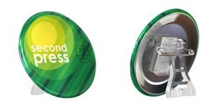 立てて飾れるスタンド付きのオリジナル缶バッジ!secondpressが「スタンドピン」の取り扱いを開始
