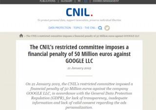 Google、個人情報取り扱いに関するGDPR違反でフランス当局から約62億円の罰金