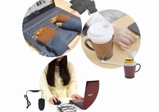 サンコー、USBで温かくなる手袋+マウス+紙コップウォーマーの3点セット発売
