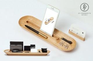机の上の小物整理のために作られた天然木トレイ「YouZhang」