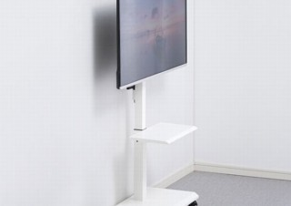 壁のそばに薄型テレビを設置して画面の上下昇降も可能な「テレビ・ディスプレイ用壁寄せスタンド」