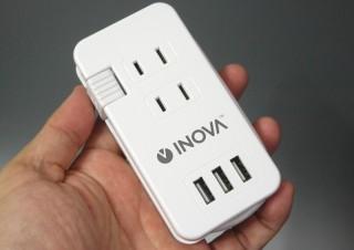 出張や旅行はこれひとつでOK、ケーブルも巻き取れるコンセント3基+USB3基のモバイルタップ