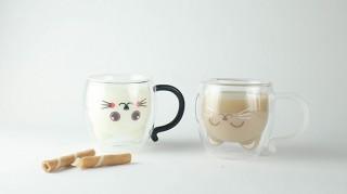 GOODGLAS、うさぎ・ねこの表情がかわいいデザインダブルウォールグラス発売