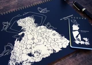 シックな黒表紙に箔押しが映える、マルマンのクリエーター限定デザインノート「Mnemosyne×Creators」