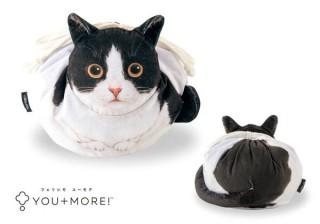 フェリシモの結ぶと丸くなる「猫のまんまるきんちゃく」。後ろ姿もキュート!