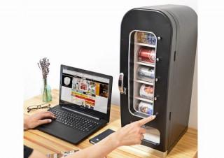 自室にデスクに自分だけの自動販売機を置ける「俺の自販機」、サンコーから