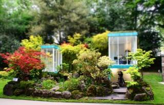 世界的に高く評価されている庭園デザイナーの石原和幸氏による「風景盆栽展」