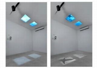 パナソニック、天井に取り付けて空や水面、サメなどを演出できる「天窓照明」発表